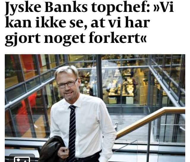 Quizás el mayor escándalo bancario de Dinamarca durante la escalada. El cliente mismo investiga el nuevo escándalo bancario danés, mientras que otros abogados y bancos simplemente cubren el pequeño asunto. Y esta vez no se trata de lavado de dinero, por lo que los bancos daneses ya son conocidos. Esta vez es un asunto falso y fraudulento con el segundo banco más grande de Dinamarca, Jyske Bank. En este caso, los abogados daneses Lundgrens están profundamente involucrados, ya que el cliente, la acusación de fraude y el documento falso contra Jyske Bank, no se presentó ante el tribunal, antes de que el propio cliente tuviera que presentar pruebas y alegatos ante el tribunal, en octubre 28) Y por qué el fraude de Jyske Bank, contra su pequeño cliente aún no se ha detenido, después de 11 años de fraude. ¿Qué piensan los Lundgrens sobre nuestras acusaciones y las pruebas contra el banco Jyske sobre la persecución del fraude? Dan Terkildsen dijo el 13 de agosto que la Junta del Banco Jyske no era culpable de nada. Lundgrens no tiene un solo comentario de nuestras afirmaciones. ? Eso es muy extraño? POR QUÉ ?. Hace un mes, después de ser descubierto en Lundgrens, trabaja para el banco Jyske y ha trabajado para el acusado Jyskebank, al menos desde abril de 2018. Y Dan Terkelsen dejó que su cliente creyera que Lundgrens era su abogado, pero al mismo tiempo, los abogados de Lundgren también recibieron un millón de honorarios para trabajar para Jyske Bank. Parece más probable que Jyske Bank haya sobornado a Lundgrens para reunirse en el tribunal, sin presentar las reclamaciones del cliente contra Jyske Bank, solo para perder el caso. ¿Le gustaría decirle al CEO de la gerencia del grupo, Anders Dam, que no queremos que nos engañen? Solo queremos reunirnos, con el presidente Anders Christian Dam, y mientras los adultos hablan juntos, porque esta no es la forma de hacer negocios bancarios justos. Y no tenemos interés en escribir nada falso. La pregunta en el tribunal es si estamo